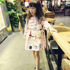 MS71381B Cute kids cartoon printed princess dress long sleeve bubble dress