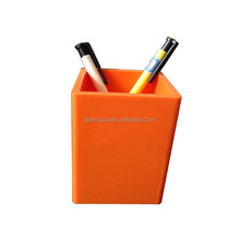 Wholesale square mini silicone pen holder with custom printing/Custom Made Cheap Silicone Pencil Cup Colorful Table Pen Holder