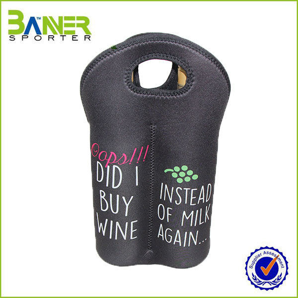 Customized neoprene bottle wine tote bag
