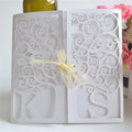 Gatefold laser cut pearl white personalized initials wedding card design