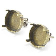 14mm Antique Jewelry Finding Silver Empty Stone Setting Stud Earring Base