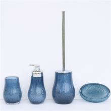 Table top blue transparent resin bathroom accessories sets