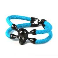 Cheap Mens Black Skull Blue Leather Link Bracelet Alibaba Express Jewelry