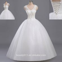 real photo 2017 Beaded A-line V-neck Sleeveless Floor-length Empire Lace Princess ball gown wedding dresses WD1613
