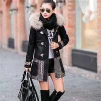 walson Fashion vinatge national style thick ladies coats denim thick long women coats
