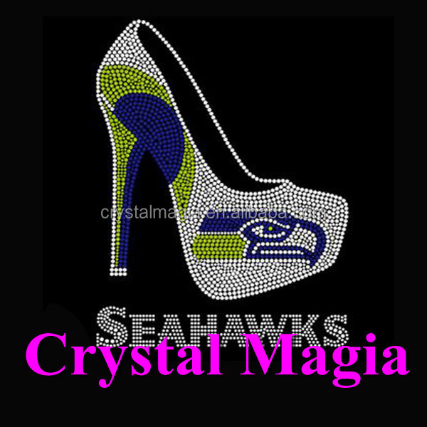 new fashion sport logo high heel shoe rhinestone motif on t-shirt hotfix design