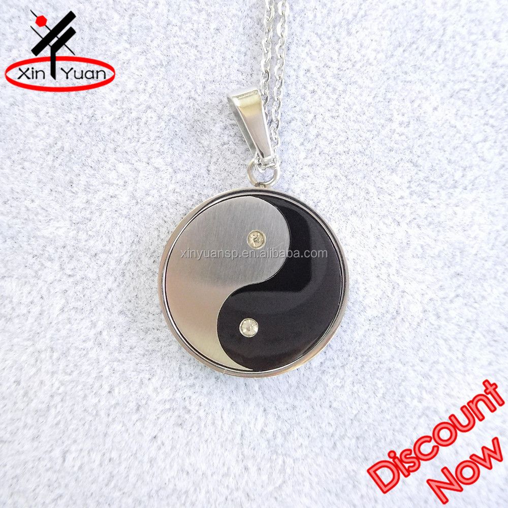 fengshui spirit yin yang necklace with CZ rhinestones