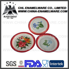 Porcelain decorative enamel metal camping tray