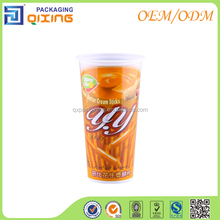 Plastic packaging cup with dish for biscuit sticks/cookies/chocolates/candy