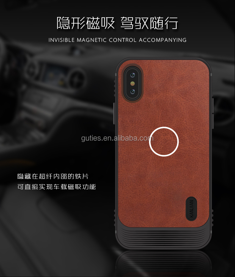 Business leather case for iphone X case cover with invisible magnetic control accompanying