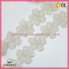 Top Quality Crystal Wedding Sash Applique Crystal Embellishments Rhinestone Applique for Sash