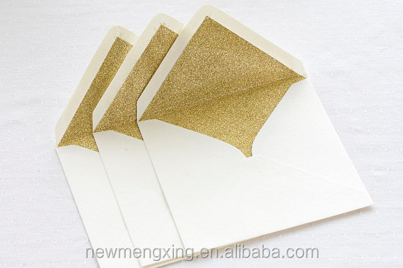 Square handmade glitter envelops with liner
