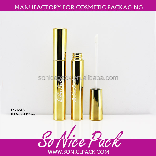 wholesale gold shiny plastic lipgloss container