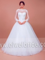 S1605 Elegant appliqued long sleeve ball gown colorful muslim wedding dress