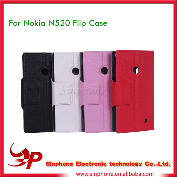 Lichi PU Flip case For Nokia Lumia 520 Mobile Phone Accessories