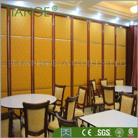 Hotel acoustic wooden sliding door partition