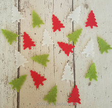 Felt Christmas tree ideal size for table confetti , die cut table decor red white christmas