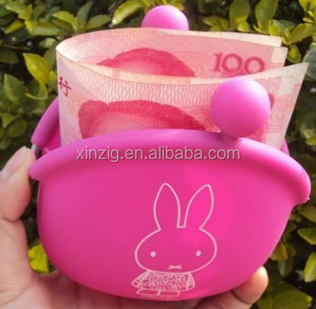 candy color heart-shaped silicone wallet