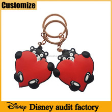 Disney audited factory promotional giveaway pvc free heart shape custom rubber key chains