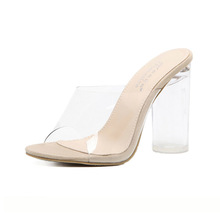 Hot selling ladies crystal transparent PVC sexy very high heels shoes