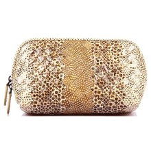 python texture cow leather party clutch bag