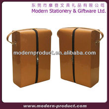 Brown PU leather wine holder for 2 bottles