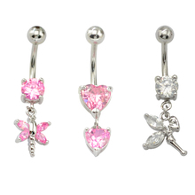Exquisite Beautiful Navel Rings Flower Zircon Belly Button Ring