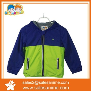2015 low price Elf childrens clothes in spring winter for boys spell color hooded jacket windbreaker