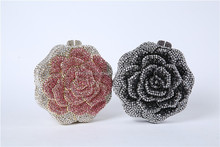 Top quality Rose flower shaped crystal evening bag