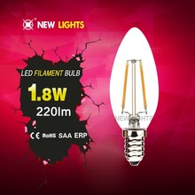 2015 innovative jiaxing candle or candle with tail shape C35 C35T 2W 4W led filament bulb e27