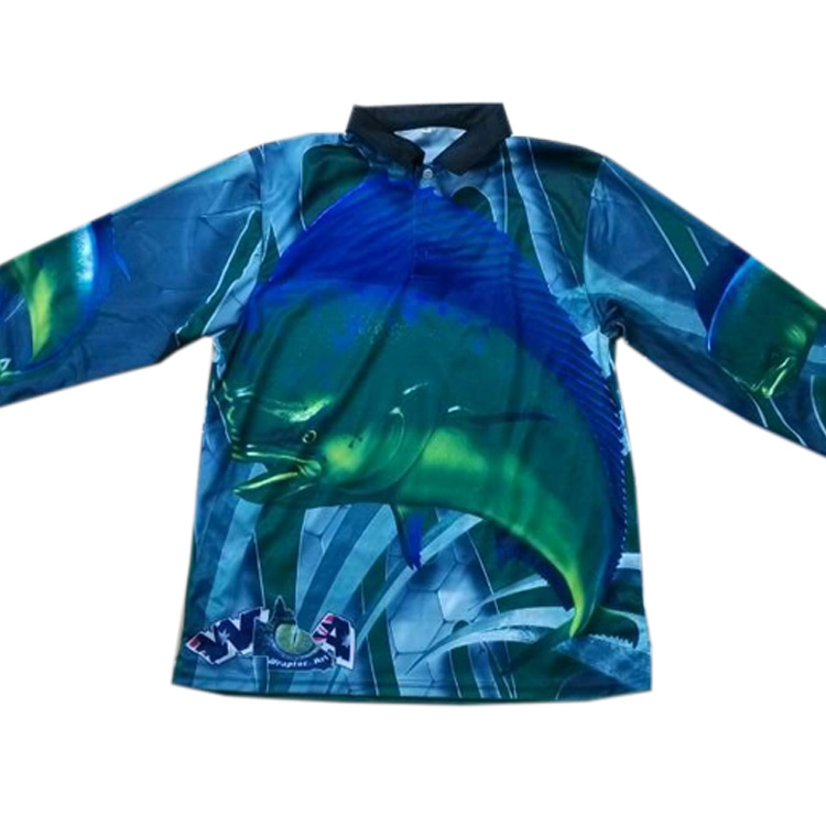 Custom-made Fishing Shirt with Subliamtion Printing, Gradient colors No fading for Colors from Kroad Manufactory