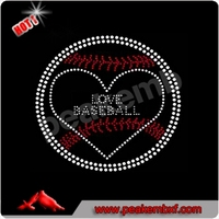Love Baseball Rhinestone Transfer Designs