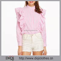 2017 New arrival designer Spring ladies Pink Vertical Striped Hidden Button Ruffle 100% Cotton Blouse