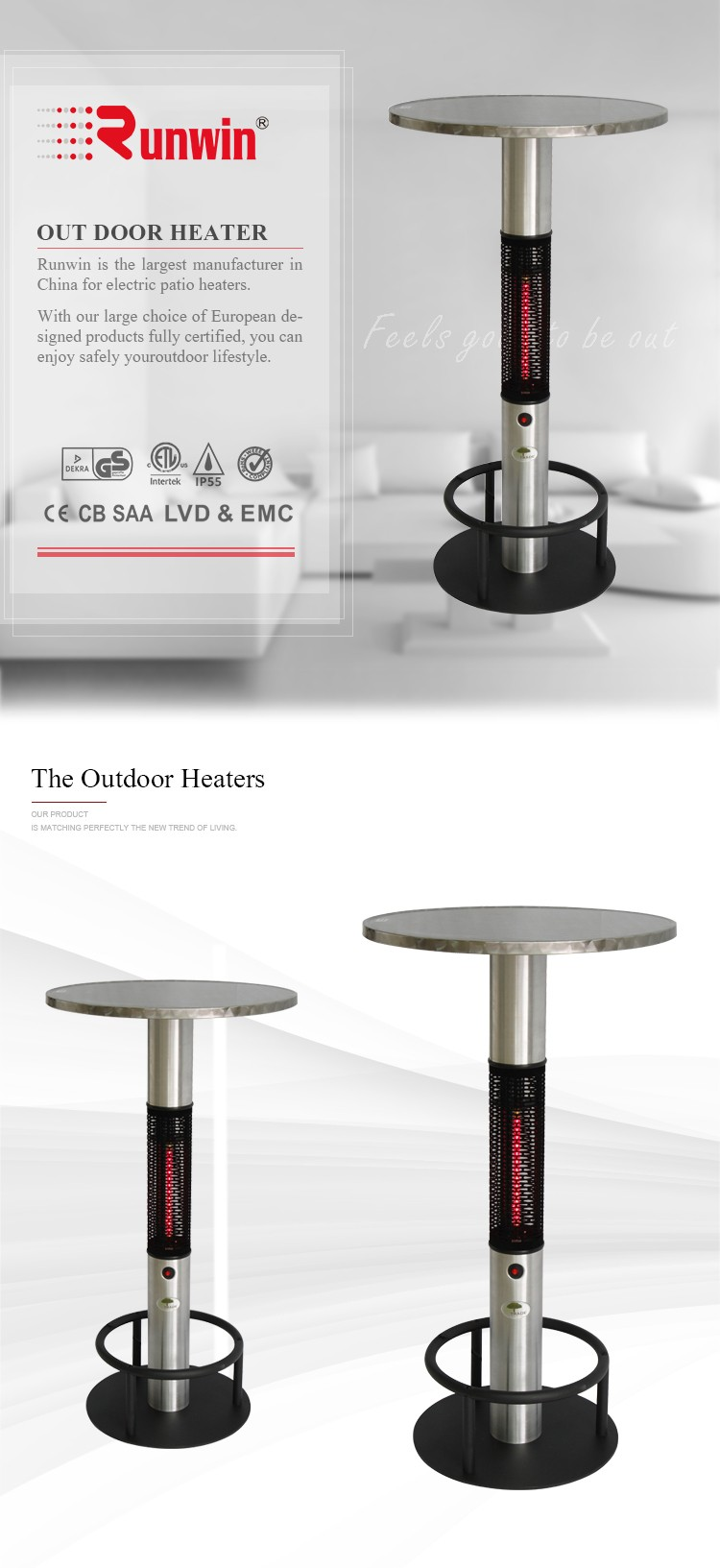 jh electric infrared heat panel electric radiator glass Bar table heater infrared carbon crystal heater