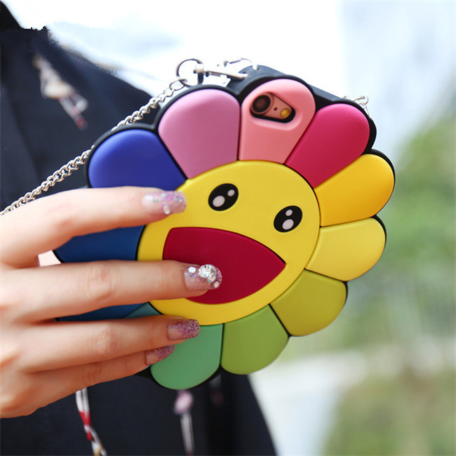 Fundas Cute Cartoon Seven Colors Sunflower Silicone Rubber Cover Case For iPhone 6/6 Plus/7/7 Plus