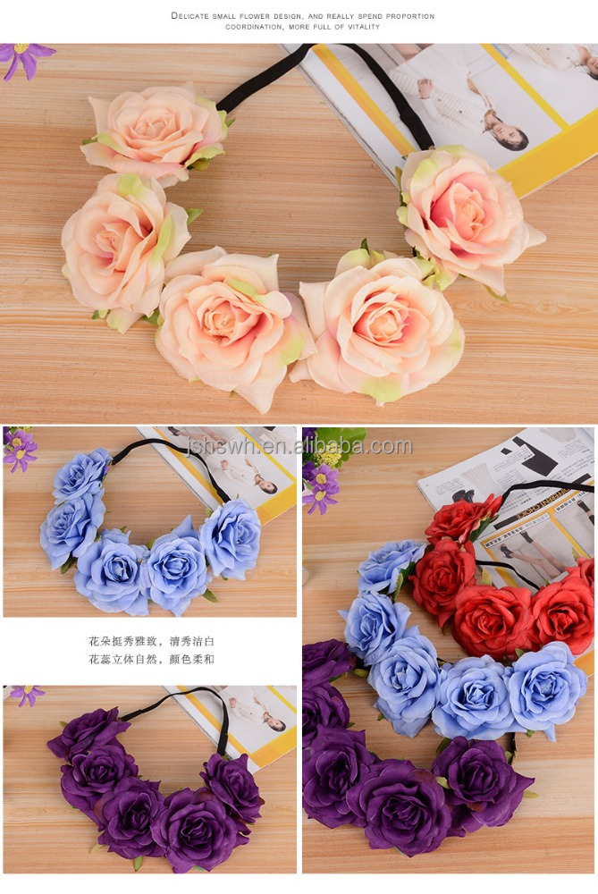 Spring Floral Wreath artificial flower hair wreath for wedding