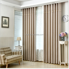 quality custom ready made faux linen fabric blackout hotel curtain