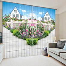 Top Sale Designs Luxury 3D Polyester Curtain For Living Room , Hall Office Curtain , Window Blind Curtain With Dream House