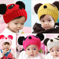 Korea Lovely Cap Warm Winter Panda Stretchy Beanie Baby Hat