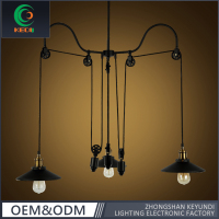 Black iron three arms vintage hanging pulley pendant lamp with Edison bulbs