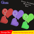 Heart shape pill box Adjustable keychain with light heart gift