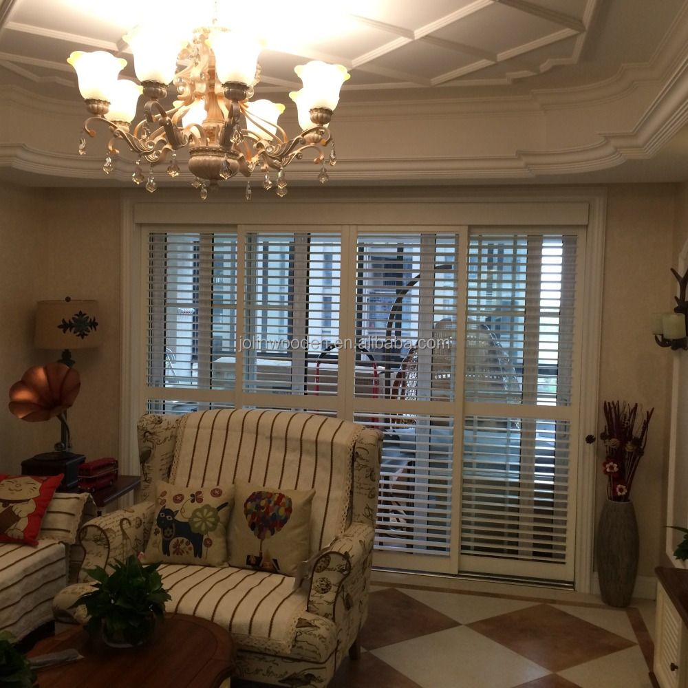 Solid Wood Sliding Interior Window Plantation Shutters