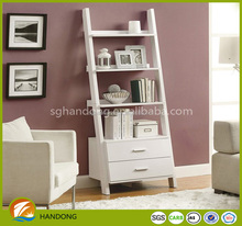 Stylish white high quality wood wall mounted shelf design with drawers