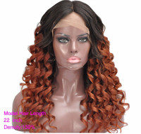 ombre color Human hair Full Lace Mira Curl Curly Human Hair Wigs Brazilian hair glueless lace wig
