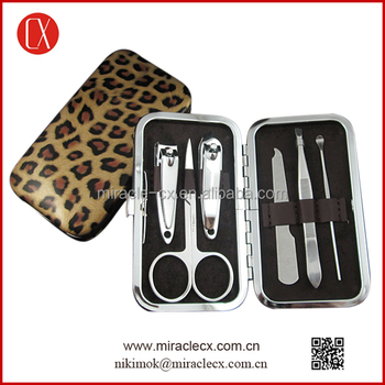 6pcs leopard patterns cheap manicure set