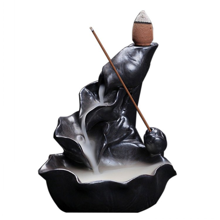 Black Porcelain Backflow Wood Incense Stick Holder Burner Wholesale
