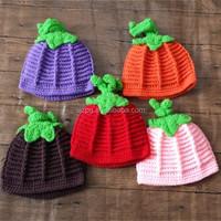 Halloween hand crochet knitted baby pumpkin hat