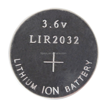 LIR2032 battery 3.6V Li-ion rechargeable Button Cell lir2032 Battery