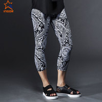 oem logo training woman 73% polyester 27% spandex capris plus size available flat lock young lady sportswear pants legging pants