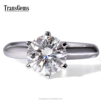 TransGems 3Carat Lab Grown Moissanite Diamond Ring Six Prongs Solid 14K White Gold Wedding Engagement for Women